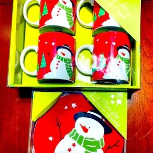 Red porcelain Plates & Mugs Snowman Pattern 8 pc